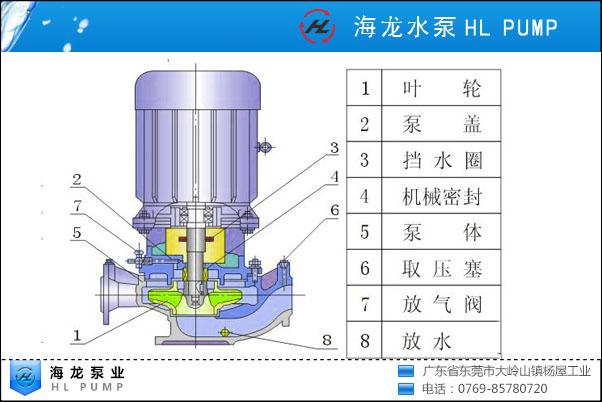 50米扬程立式管道泵结构图